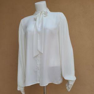 Tahari Vtg White Tie Neck Pleated Sleeve Blouse M